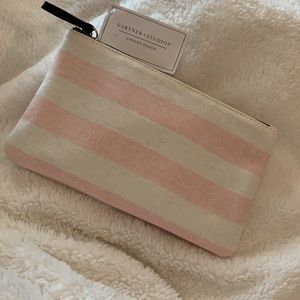 Pink and white stripe canvas zip pouch